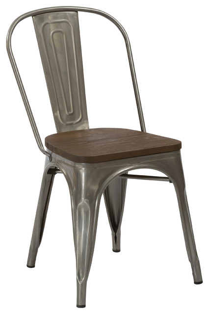 Beau Tradd Metal And Wood Bistro Side Chair, Distressed   Industrial   Dining  Chairs   By BTExpert