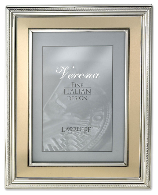 4x6 Silver Plated Metal Picture Frame Brushed Gold Inner Panel