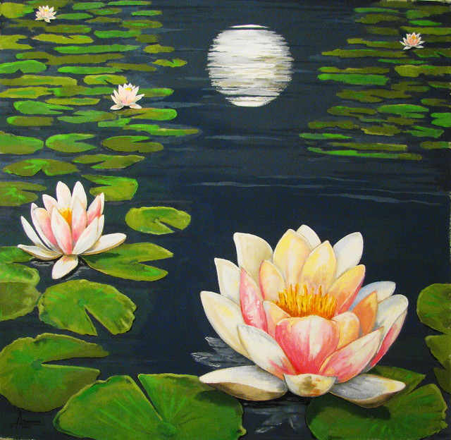 Water Lily Pond Moon ReflectionOriginal Large Size 58x