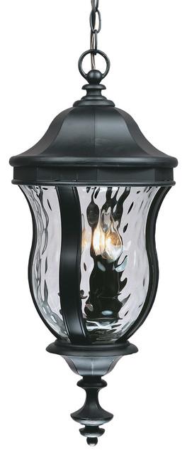 Monticello 3-Light Outdoor Pendants/chandeliers, Black.
