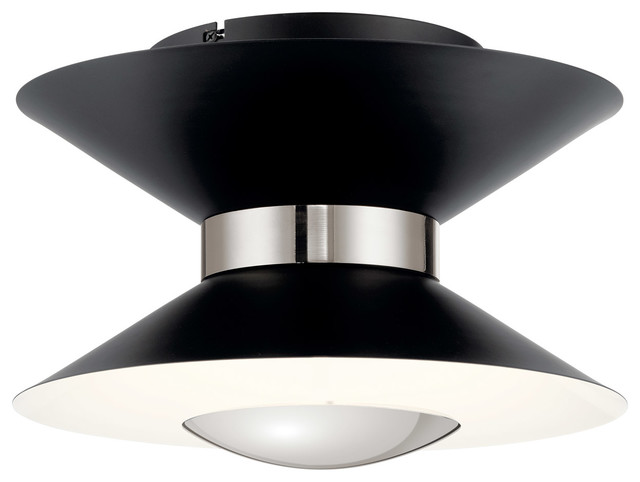 Kordan Flush Mount in Matte Black And Polished Nickel
