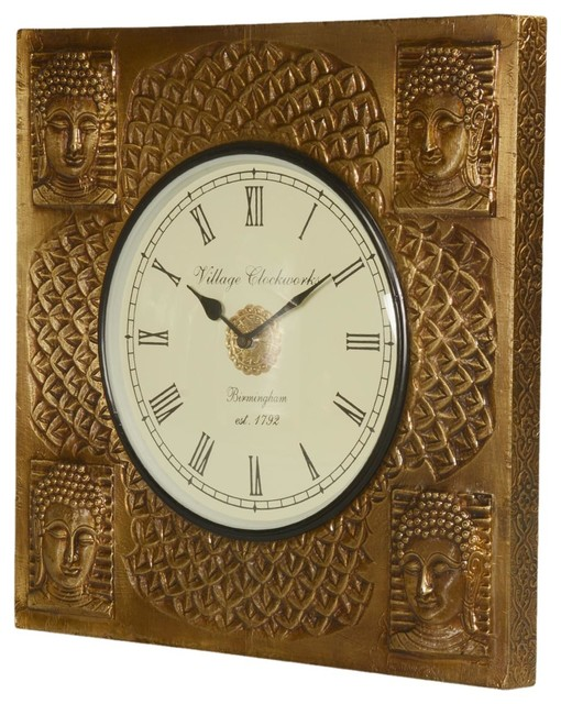 Golden Buddha Mango Wood 16 Square Framed Wall Clock Asian Wall Clocks By Sierra Living