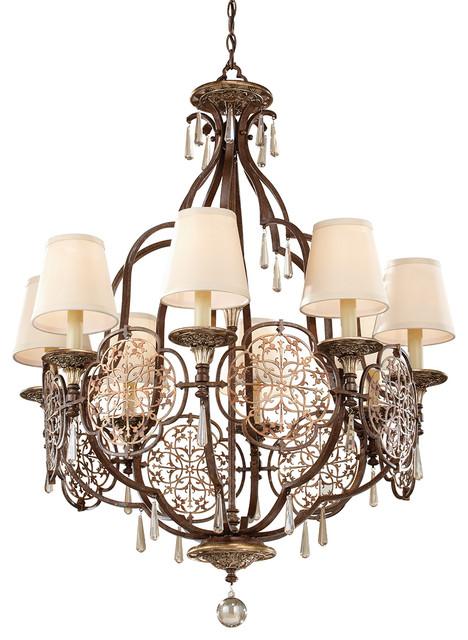 Luxury 8-Light Chandelier, British Bronze