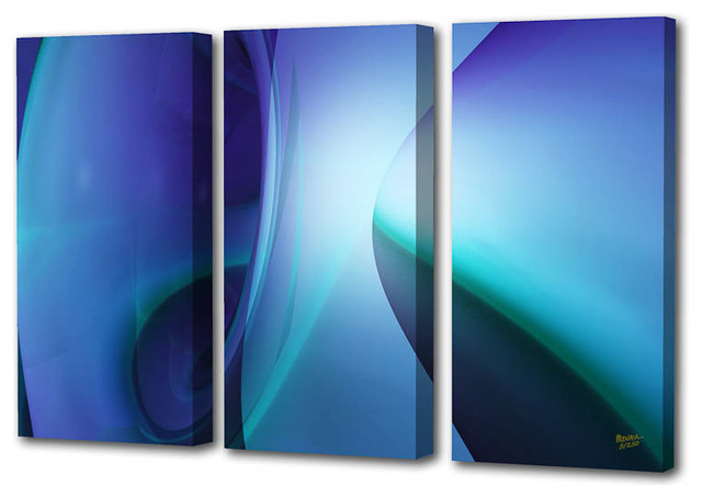 """sophie Blue Triptych"" Limited Edition By Scott J. Menaul, 69x44."