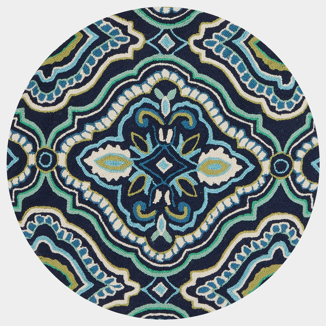 Loloi Francesca Collection Rug, Navy And Aqua, 3&x27;x3&x27; Round.