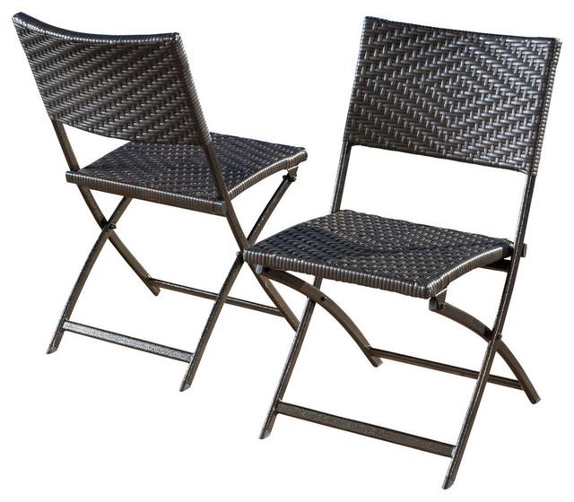 Incroyable GDF Studio Jason Outdoor Brown Wicker Folding Chairs, Set Of 2