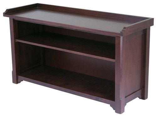 Winsome Wood Milan Bench With Storage Shelf With Antique Walnut Finish X-04649