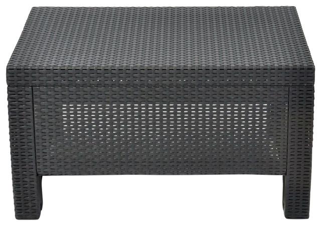 contemporary outdoor coffee table, durable black plastic rattan