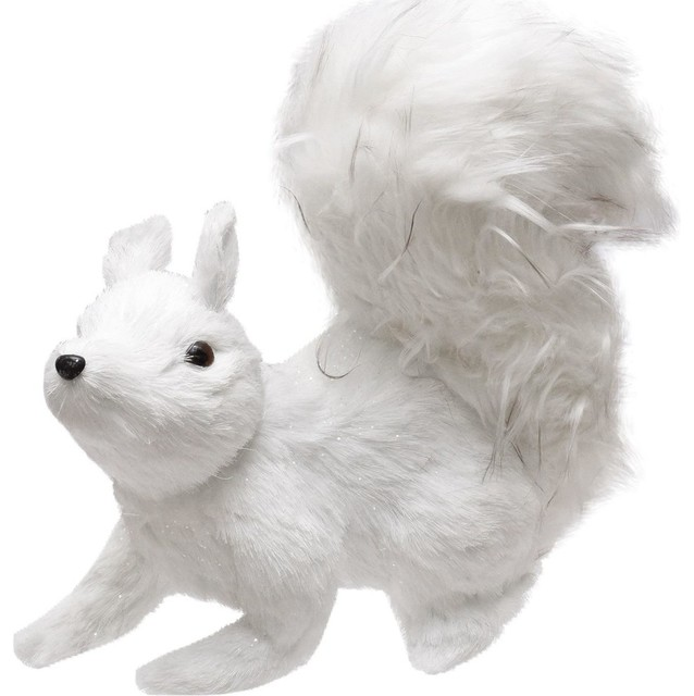 "11.25"" Winter&x27;s Beauty White Walking Squirrel Christmas Decoration."