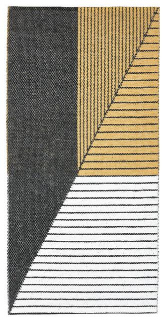 Stripe Woven Vinyl Floor Cloth, Yellow, 70x140 cm