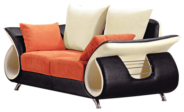 Orange And Black Modern Loveseat - Contemporary - Loveseats - by ...