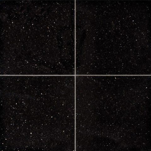 Polished Black Galaxy Granite Tile Sample