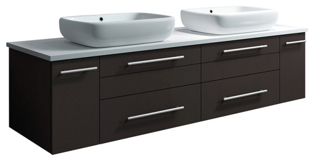 Lucera Wall Hung Bathroom CabiWith Top & Double Vessel Sinks