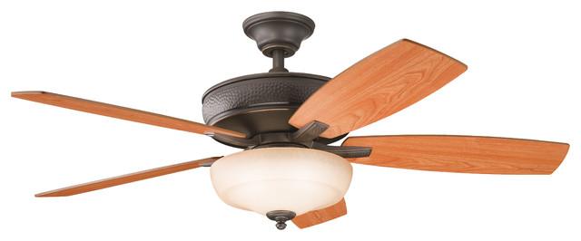 """52"""" Monarch Ii Select Fan, Olde Bronze/walnut/light Cherry/pine Bark Glass."""