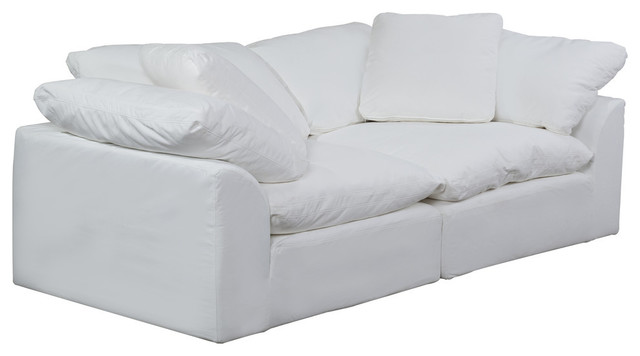 Terrific Sunset Trading 2 Pc Slipcovered Sectional Loveseat Performance White Cjindustries Chair Design For Home Cjindustriesco