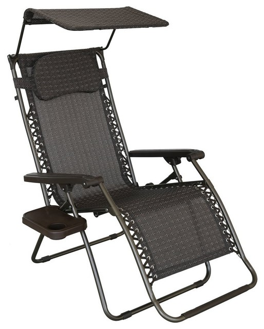 Zero Gravity Recliner Patio Lounge Chair With Sun Shade Contemporary Outd
