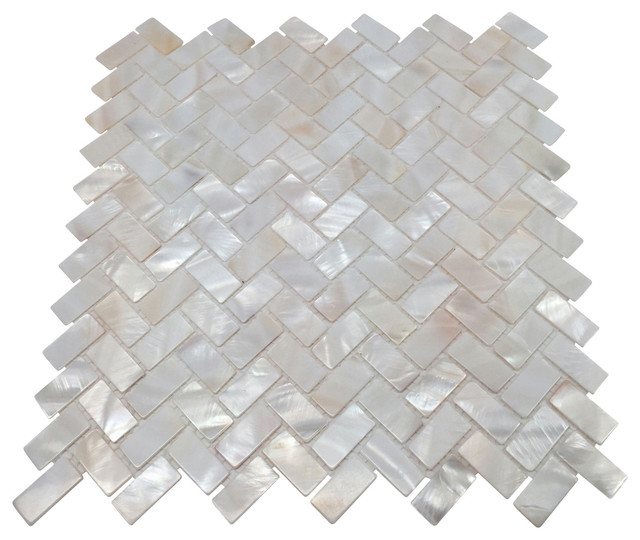Mother Of Pearl Tile White 11 X11 Contemporary Mosaic