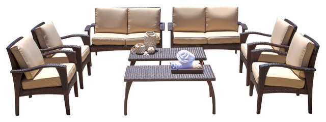 Voyage Outdoor Brown Wicker Seating 8-Piece Set.