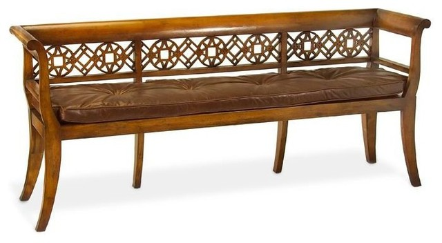 John Richard Fretwork Bench With Leather Cushion.