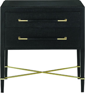 Verona Nightstand, Black Lacquered Linen, Champagne Stretchers, Linen Wrapped