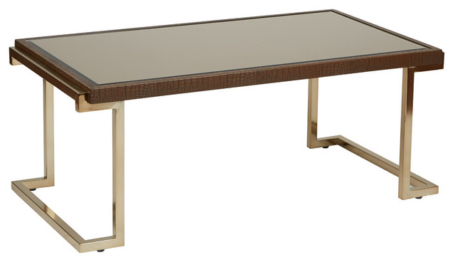 Isabella Coffee Table With Bronze Glass Top And Champagne Metal Frame Contemporary Coffee Tables
