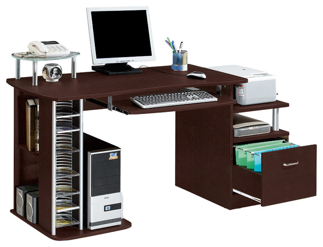 Complete Computer Workstation With Storage Chocolate
