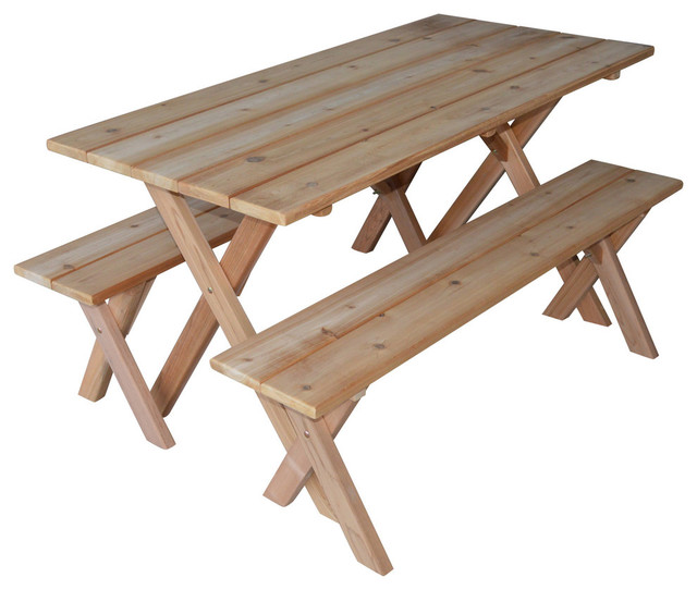 Merveilleux Cedar Economy Cross Leg Picnic Table With Detached Benches, Unfinished