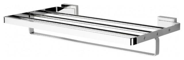 "Bano Diseno Chrome Gravity Wall Shelf With Bar, 20""."