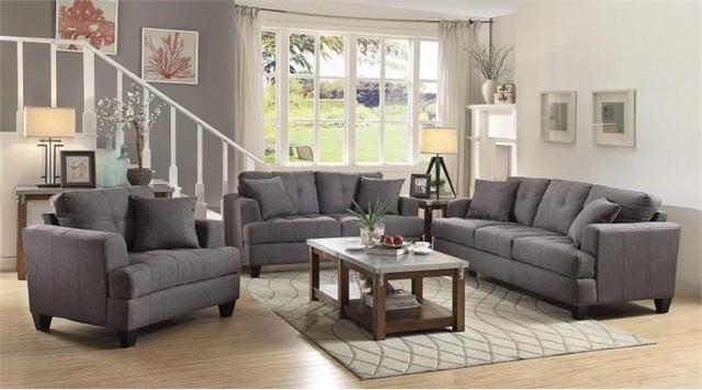 Coaster Samuel 3-Piece Sofa Set, Charcoal - Contemporary - Living ...