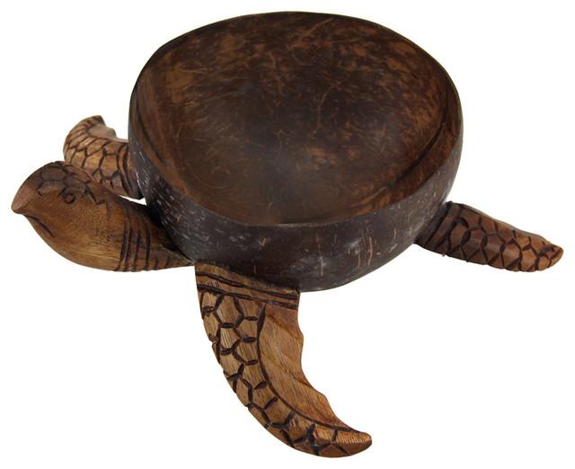 Wooden Decorative Bowls Stunning Zeckos  Small Wooden Sea Turtle Decorative Centerpiece Bowl Design Decoration
