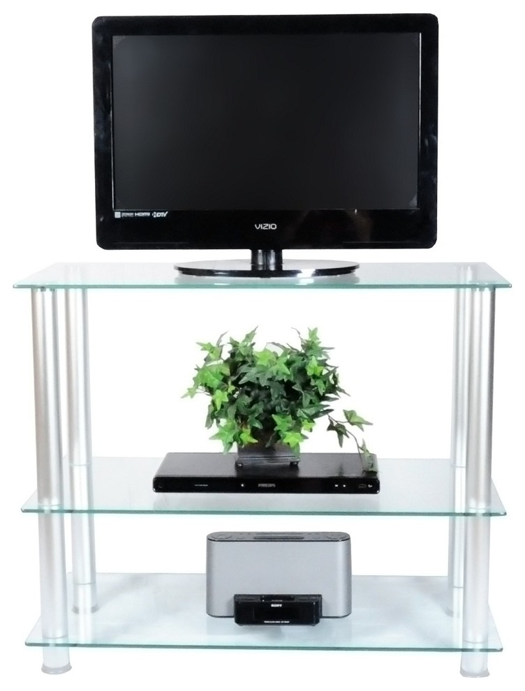 RTA Home and Office Extra Tall Glass and Aluminum LCD and Plasma TV Stand for a 75 TV