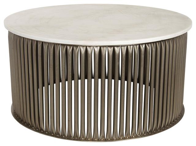 Opher Industrial Loft Antique Silver Round Stone Coffee Table Industrial  Coffee Tables