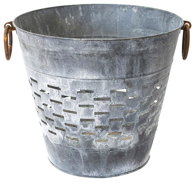 Rustic olive bucket planter farmhouse outdoor pots and for Metal bucket planter