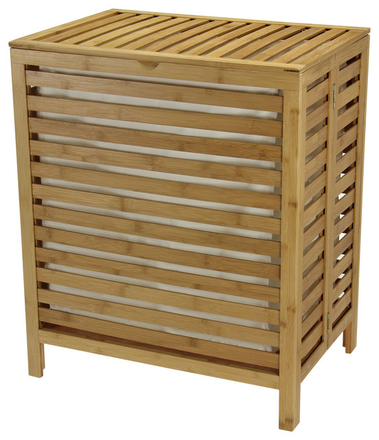 Natural Bamboo Open-Slat Hamper By Household Essentials.
