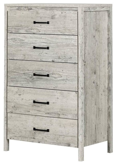 South Shore Gravity 5 Drawer Chest In Seaside Pine Farmhouse
