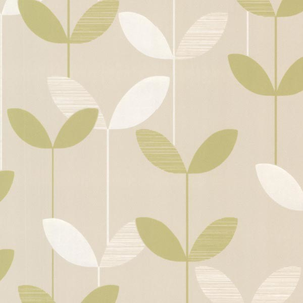 Ernst Light Green Linear Leaf Wallpaper Scandinavian Wallpaper - Green and brown wallpaper