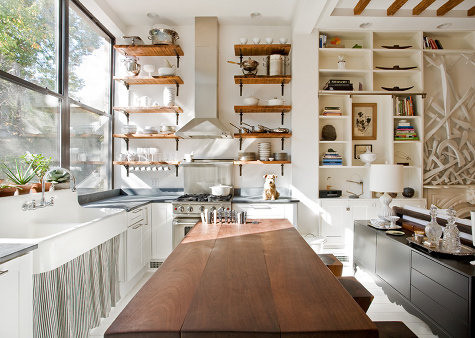 Attirant Wood Shelves In White Kitchen