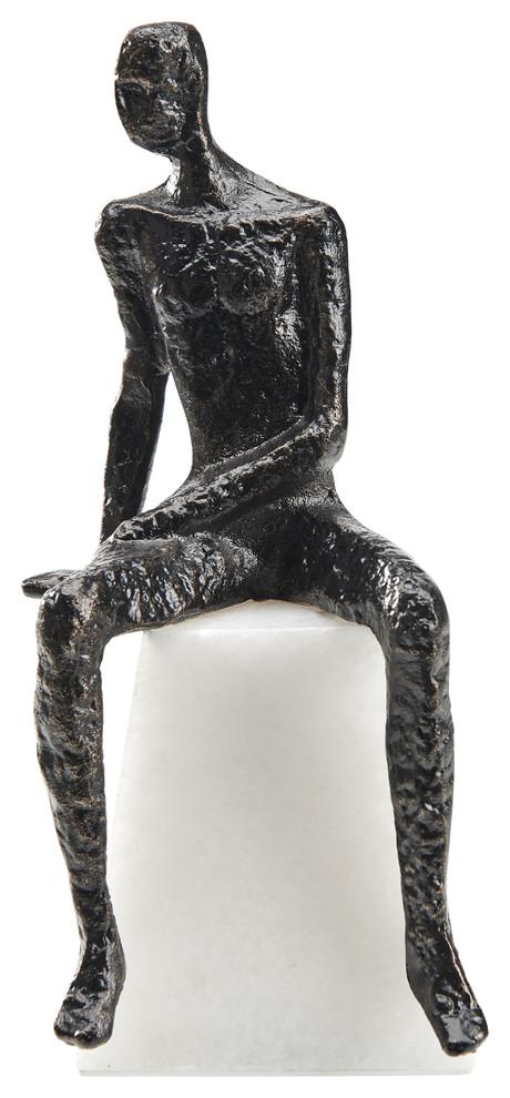 Joaquin The Great Iron Marble Black Sculpture | Finesse Decor