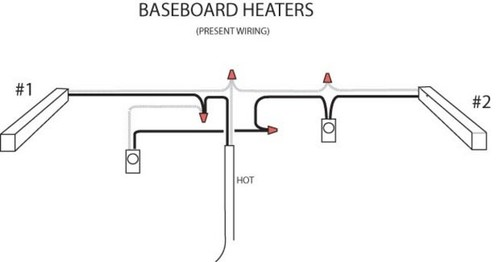 wiring 2 baseboard heaters to one thermostat wiring. Black Bedroom Furniture Sets. Home Design Ideas
