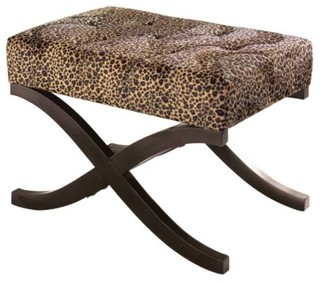 leopard animal print accent stool eclectic footstools 88095