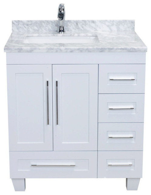 Eviva Loon 30 White Transitional Bathroom Vanity With White Carrara Marble Transitional Bathroom Vanities And Sink Consoles By Eviva Llc Houzz