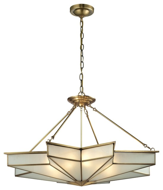 Elk Lighting 22013/8 Decostar Brushed Brass Large Pendant.