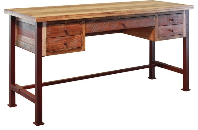 Sensational Bayshore Rustic Style 5 Drawer Writing Desk Library Table Download Free Architecture Designs Scobabritishbridgeorg