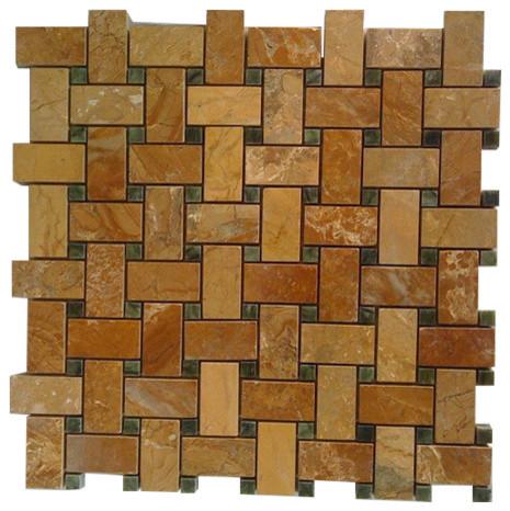 """Basket Weave Polished Tile, Yellow Onyx, 12""""x12"""", Set of 10"""