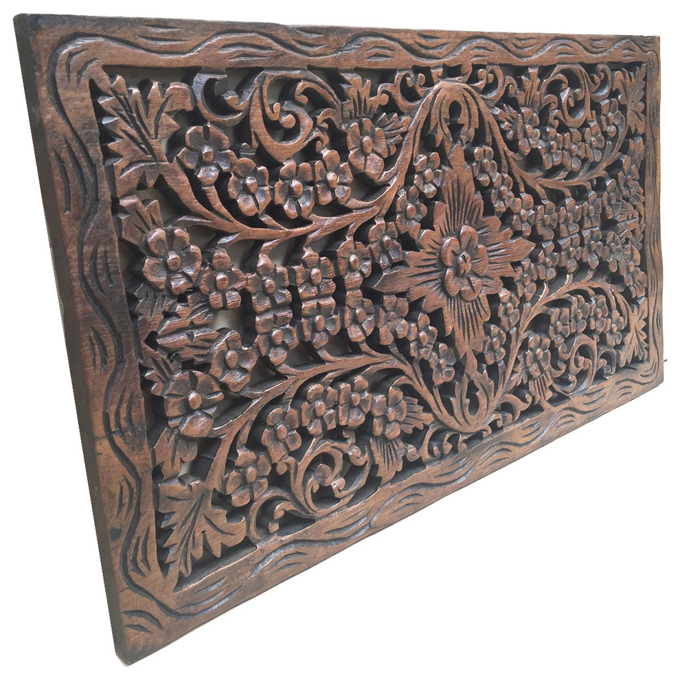 Wood Carved Panel Decorative Flora Wall Relief Panel Teak Wood Wall Hanging Asian Wall Accents By Asiana Home Decor