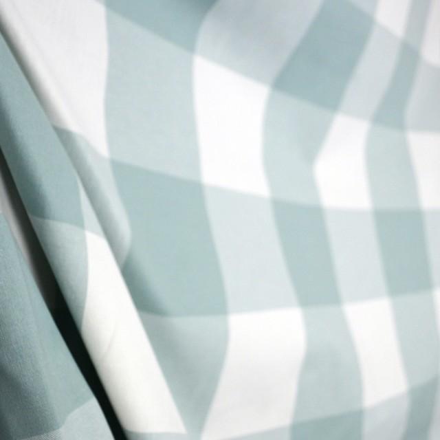 Buffalo Check Seabreeze Mint Green Blue Kaufman Cotton Fabric, Sample