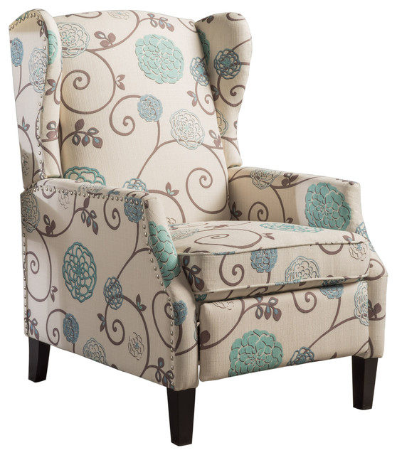 Westeros Traditional Wingback Fabric Recliner Chair, White And Blue Floral