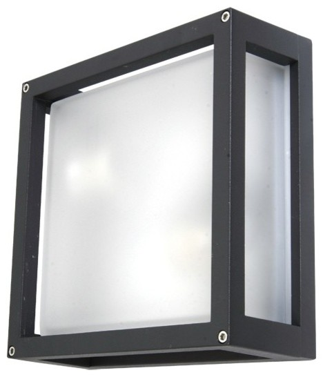 Benetti 2 Light Plain Square Wall Bracket in Charcoal - Contemporary - Outdoor Wall Lights And ...