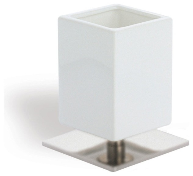 Square White Ceramic Toothbrush Holder With Br Base Satin Nickel