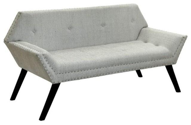 Furniture Of America Sondra Tufted Fabric Bench, Beige.